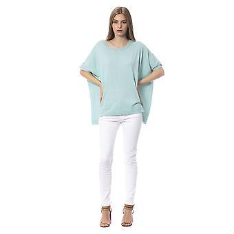 Trussardi Jeans Oversized Aquamarine Round Neck Sweater