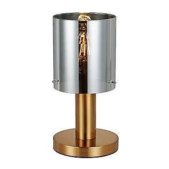 Lámpara de mesa moderna de latón 1 luz con sombra ahumada, E27