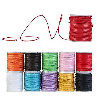 10 rollos de algodón encerado cordón banda algodón hilo de algodón 10m 1mm para joyería artesanía proyectos creativos Bijoux