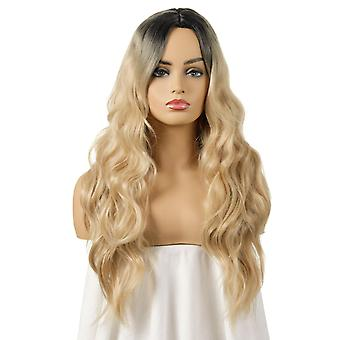 Women's Wig Dyed Women's Big Wave Long Curly Wig Head Cover
