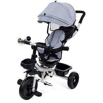Kinderwagen driewieler - kinderfiets met zonnevizier- grijs