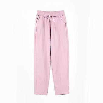 Spring Summer Female Solid High Waist Loose Harem Pant Pencil Trousers