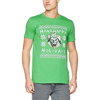 Batman Unisex Adultos Ha Ha Happy Holidays Design T-Shirt de Natal