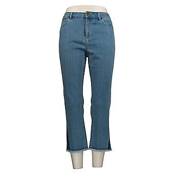 LOGO By Lori Goldstein Women's Petite Jeans Straight Crop Hem Blue A345376