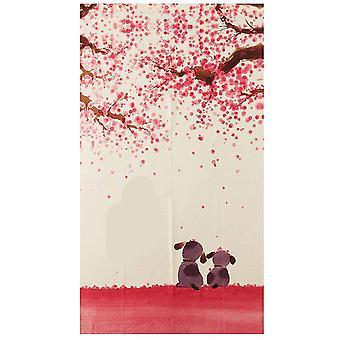 Happy Dogs Cherry Blossom Style japonais Porte Rideau