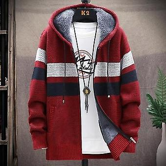 Winter Men's Knitted Thicken Coats, Hood Male Sweater, Casual Male Cardigan