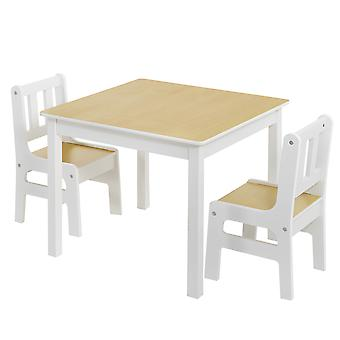 Kindertafel met stoeltjes van hout - 1 tafel en 2 stoelen  voor kinderen