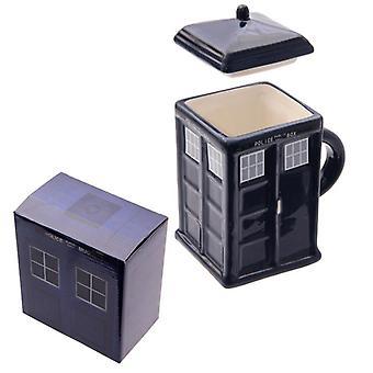 Nova cerâmica caixa de polícia caneca quadrada com tampa