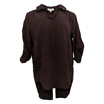 Side Stitch Women's Top Tencera Pull-Over Tunic Roll Tab Sleeves Brown A382700