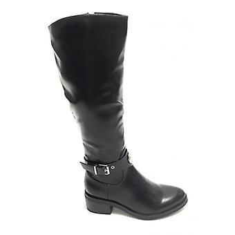 Women's Shoes Cavalry Boot Gold&gold In Black Faux Leather D20gg49