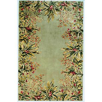 2' x 3' Sage Floral Bordered Wool Accent Rug