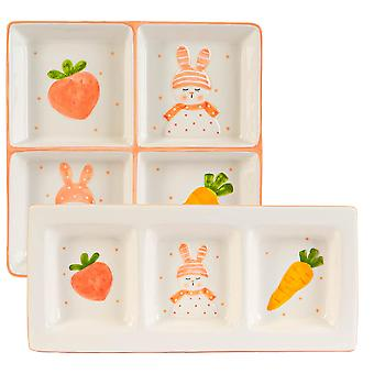 2 Piece Easter Bunny Snack Plates Set Hand Painted Buffet Party Tableware White