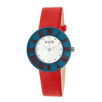 Crayo Prestige Silver Dial Red Polyurethane Watch CRACR3107