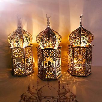Holz Eid Desktop Dekoration Mubarak muslimischen Holz Handwerk warme Lichter Laterne Ornamente für Eid Muslim Islam Ramadan Party