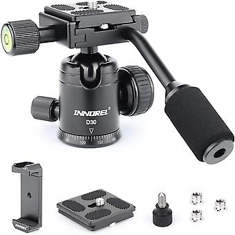 DZK D30 Camera Tripod Ball Head with Handle and 1/4 inch Quick Shoe Plate and Two Quick Release