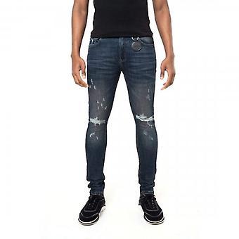 Amicci Nocelle Skinny Fit Stretch Dirty Blue Denim Rip & Gerepareerde Jeans