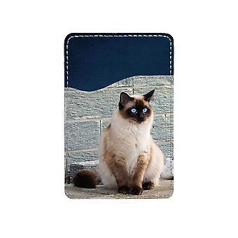 Katt Siames Självhäftande Korthållare För Mobiltelefon