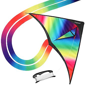 Clispeed Flying Kite Rainbow Kid's Kite With Winder With String Children Toys For Outdoor Games Activities