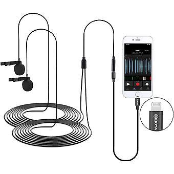 FengChun BOYA BY-M2D Digitale, omnidirektionale Lavalier-Doppelkopfmikrofone Kompatibel mit iPhone,