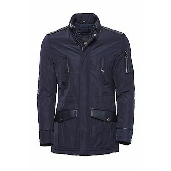Leather modeled navy blue slim fit quilted jacket
