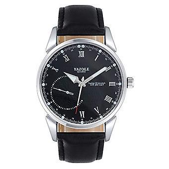 SUPBRO Ultra thin men's watches casual black minimalist quartz with black PU leather strap