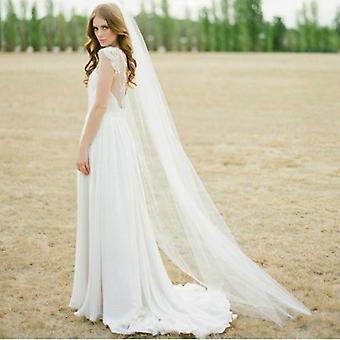 أنيقة كاتدرائية الزفاف الحجاب 2 متر طويلة لينة الحجاب الزفاف