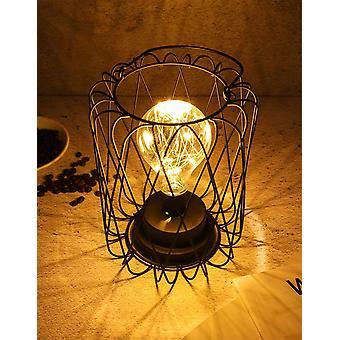 Decorative Bedside Lamp Night Light Bulb Retro Battery Operated Metal Table Lamp Desk Lamp Decoration Lamp(lantern)