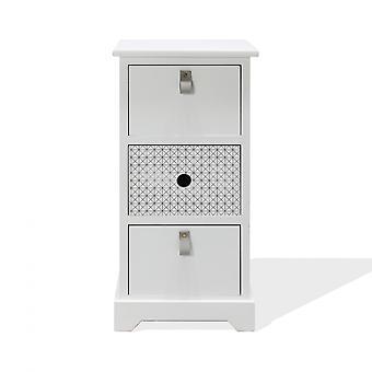Rebecca Bedside Möbler Med 3 lådor i vitt trä modernt sovrum 59.5x30x25 Cm