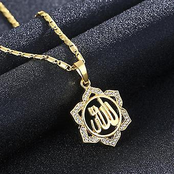 18k pozłacany łańcuszek biżuteria słońce kwiat cyrkon Islam allah