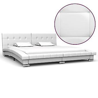 """מסגרת מיטה vidaXL עור סינטטי לבן 200 x 160 ס""""מ"""