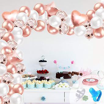 Rose Gold Ballon Bogen Kit, 106pcs Rose Gold Konfetti Latex Party Ballons Girlande Ballons Kit Set