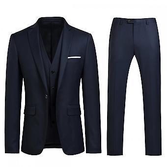 Silktaa Heren 3 Stuks Pak Elegant Solid One Button Slim Fit Blazer Set