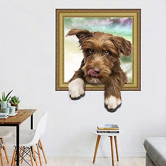 3d Cute Dog Frame Wall Stickers Decals Living Room Decorative Mural