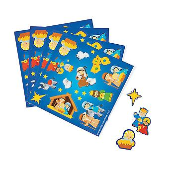 50 Small Christian Christmas Nativity Sticker Sheets for Kids