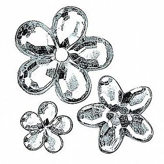 310 Diverse silver blomma formad akryl strass