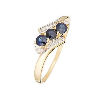 Ring 'Melbourne Sapphire' geelgoud en diamanten