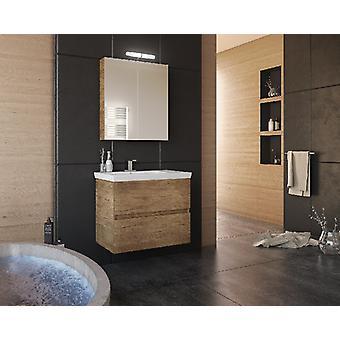 Set Mobili Luxus , Colore legno, Bianco in Truciolare Melaminico, LPB, Ceramica, Alluminio, ABS, Unita' Base con Lavabo: L70xP40xA50 cm