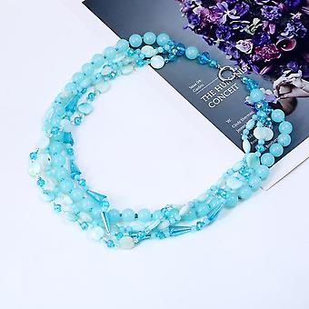 New Design Bohemia Combine Crystal With Shell Trendy Necklace-aqua