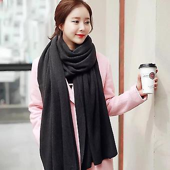 Women's Warm Shawl Winter Warm Large Scarf Pure Color Cashmere Scarf Black