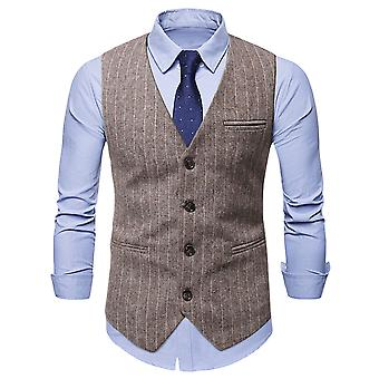 ميل الرجال 3 جيوب 4 أزرار الأعمال مصممة طوق بدلة صدرية
