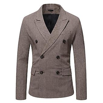 Mile Men's Two-button Double-breasted Gun Collar Fine Check Back Split Suit
