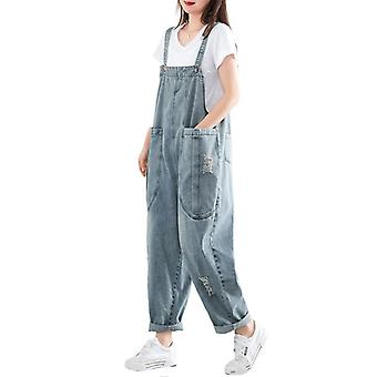 Woman Solid Jeans Oversize Overalls Demin Pants