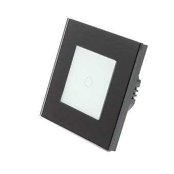 I LumoS Black Glass Frame 1 Gang 1 Way WIFI/4G Remote & Dimmer Touch LED Light Switch White Insert