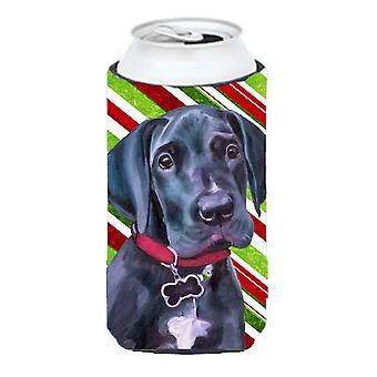 Black Great Dane Puppy Candy Cane Holiday Christmas Tall Boy Beverage Insulator