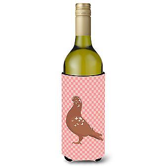 African Owl Pigeon Pink Check Wine Bottle Beverge Insulator Hugger