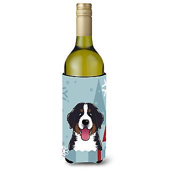 Winter Holiday Bernese Mountain Dog Wine Bottle Beverage Insulator Hugger