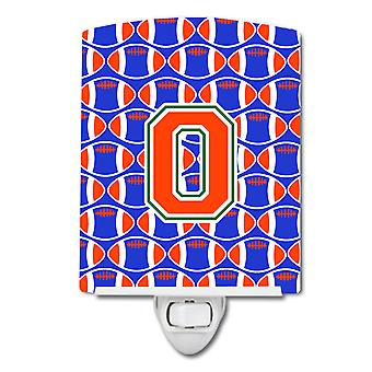 Letter O Football Green, Blue and Orange Ceramic Night Light