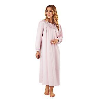 Slenderella ND8236 Women's PinkSatin Night Gown Long Sleeve Nightdress