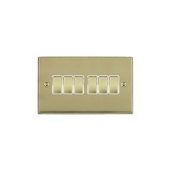 Hamilton Litestat Cheriton Victorian Polished Brass 6g 10AX 2 Way Rkr PB/WH