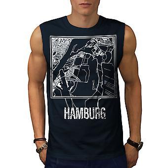 Stadtplan Hamburg City Mode Männer NavySleeveless T-shirt | Wellcoda